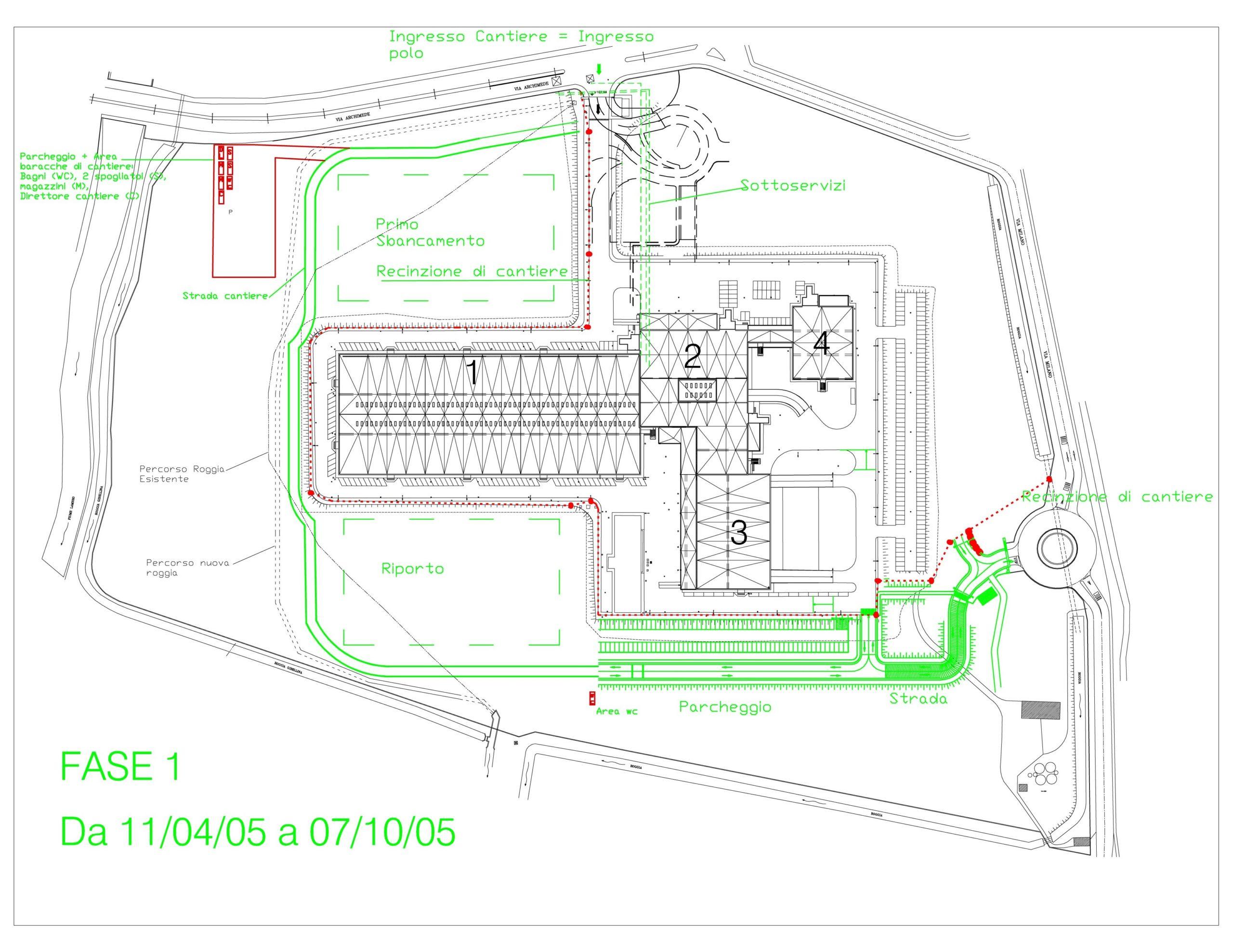 1. Elaborato grafico individuazione interventi Fase 1 con layout di cantiere con ingresso, recinzione, sbancamento, sottoservizi, area baracche di cantiere, spogliatoi, magazzini direttore cantiere e parcheggio: stato di progetto.