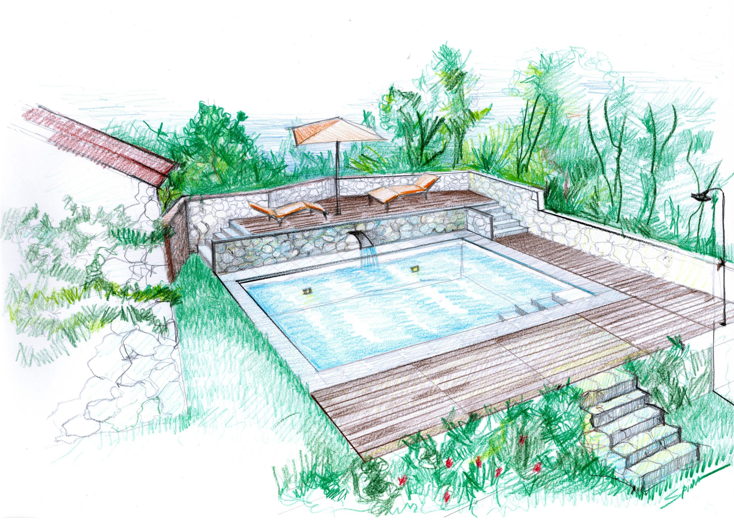 1. Bozza progettuale prospettica di piscina interrata scoperta: stato di progetto.