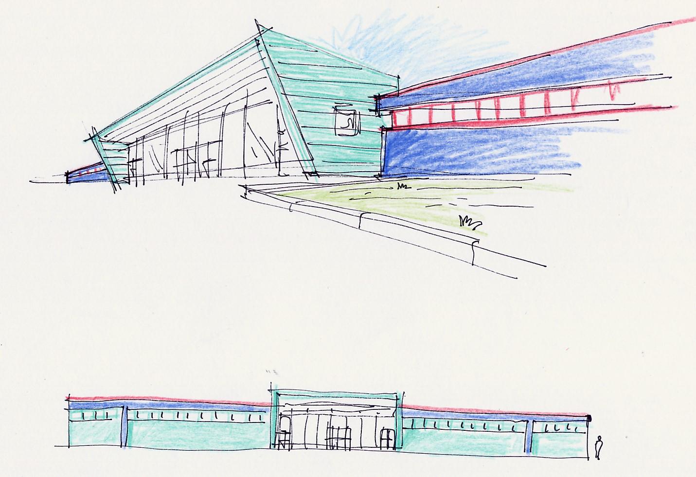 1. Bozzetto di progetto con fronte stradale e vista prospettiva della piscina Melegnano: stato di progetto.
