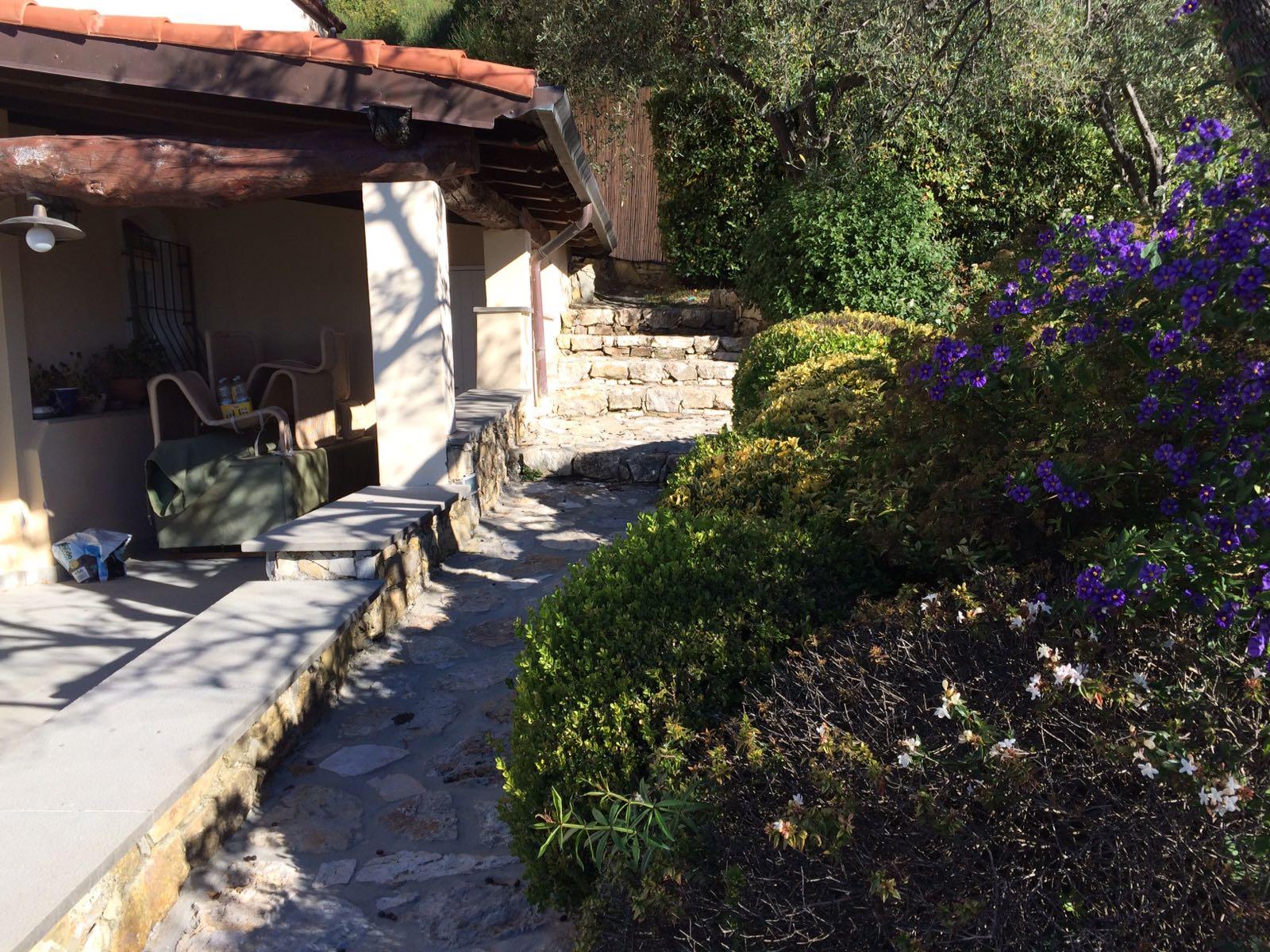 1. Percorso pedonale con scalinate rivestite di pietra naturale rustica: stato di fatto.