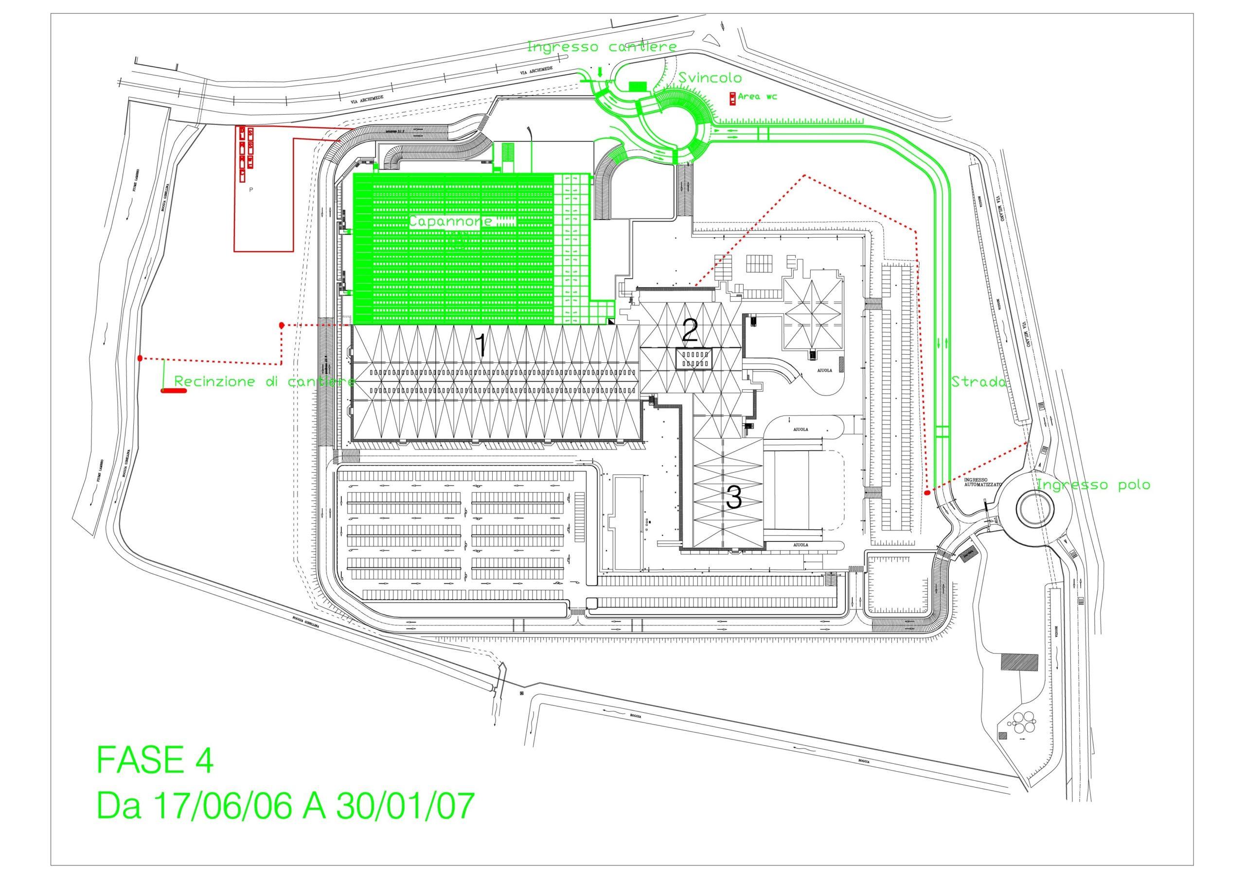 2. Elaborato grafico individuazione interventi Fase 4 con layout di cantiere, ubicazione capannone previo sbancamento, recinzione, parcheggio, collegamento stradale all'accesso di cantiere: stato di progetto.