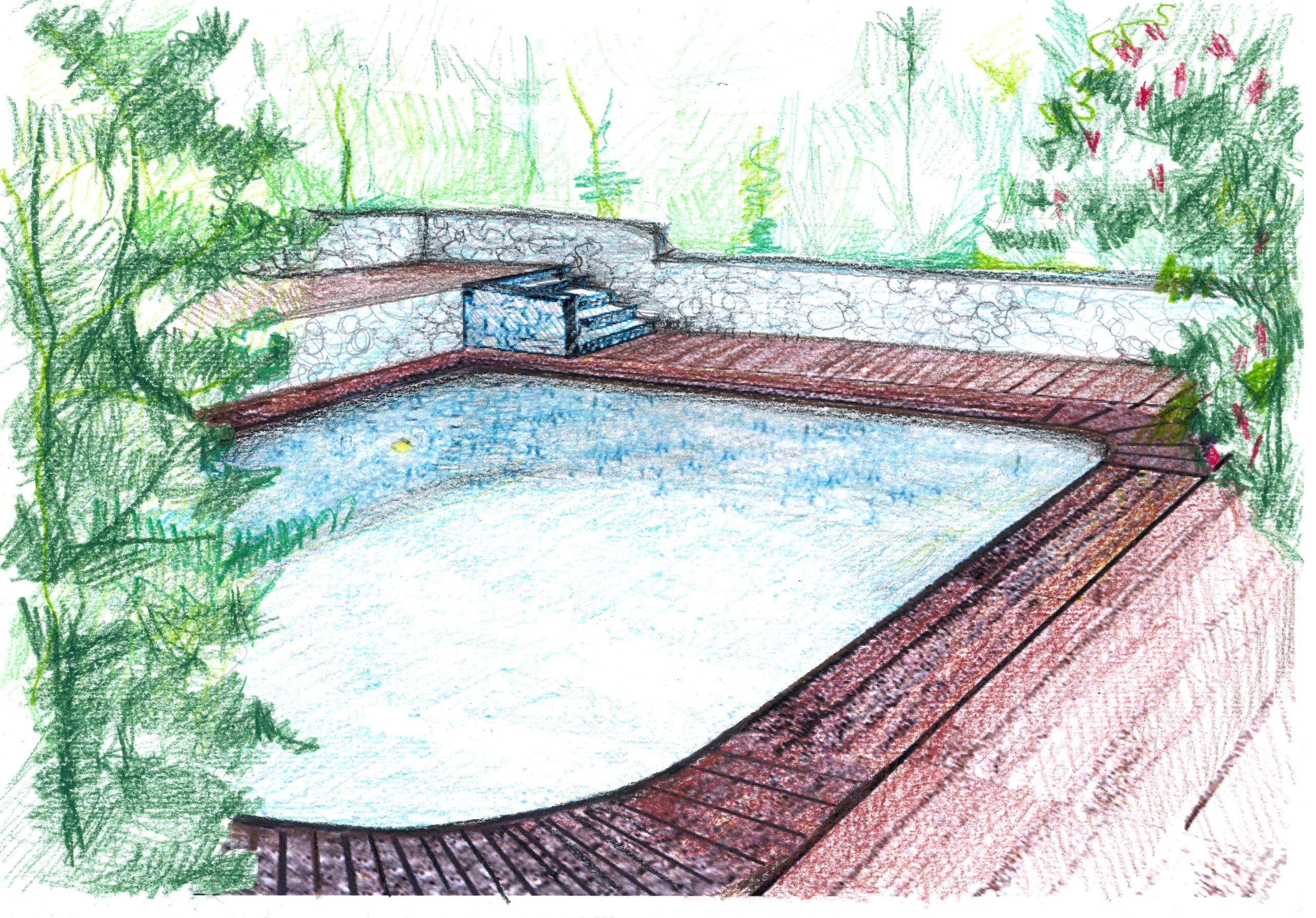 2. Bozza progettuale prospettica con scorcio gradinate e pavimentazione esterna piscina rivestite in doghe di legno e parapetto gradinate in pietra: stato di progetto.