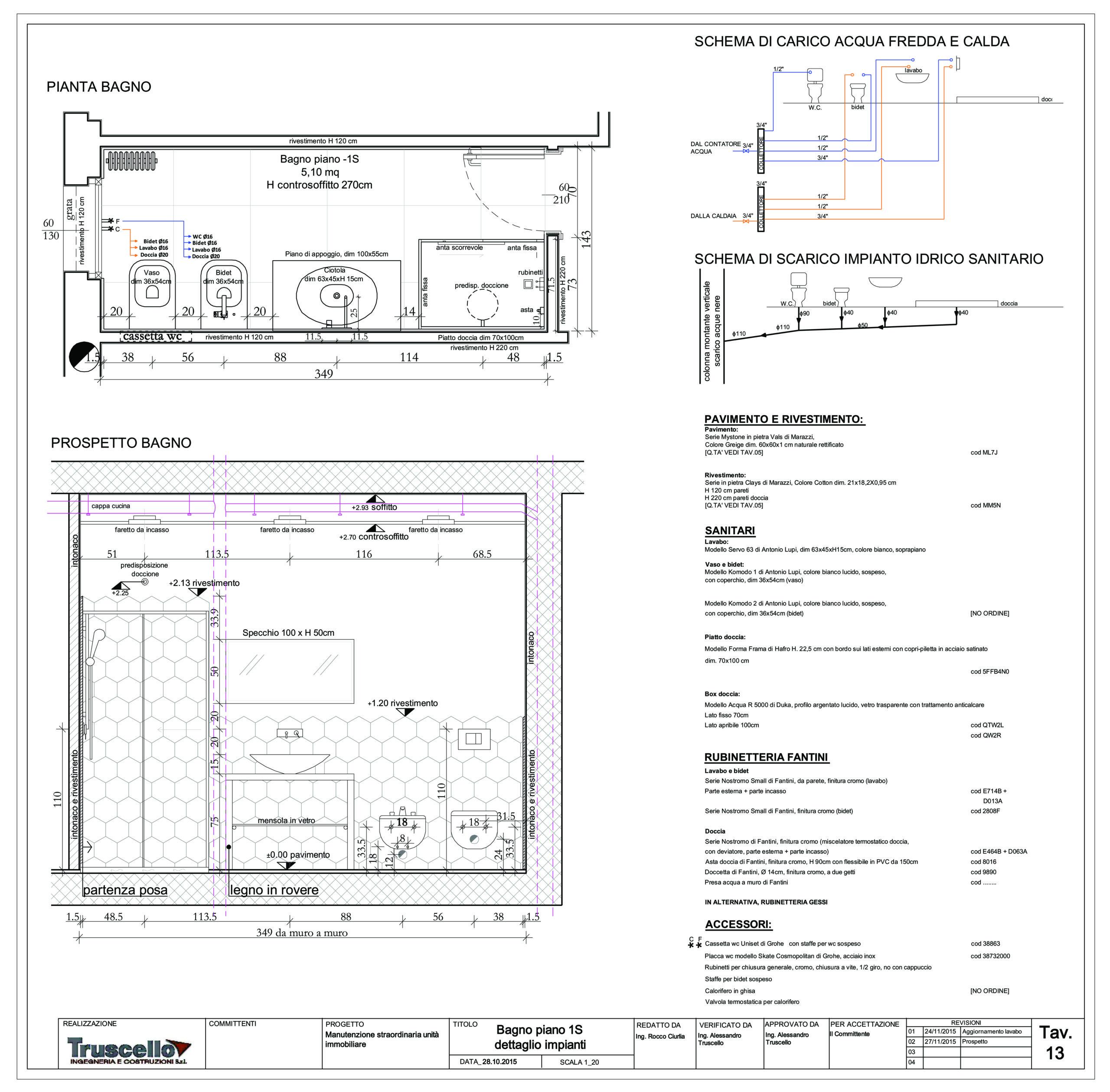 2. Pianta e prospetto interno esecutivi del bagno con schemi di carico e scarico di opere per manutenzione straordinaria di unità immobiliare: stato di progetto.