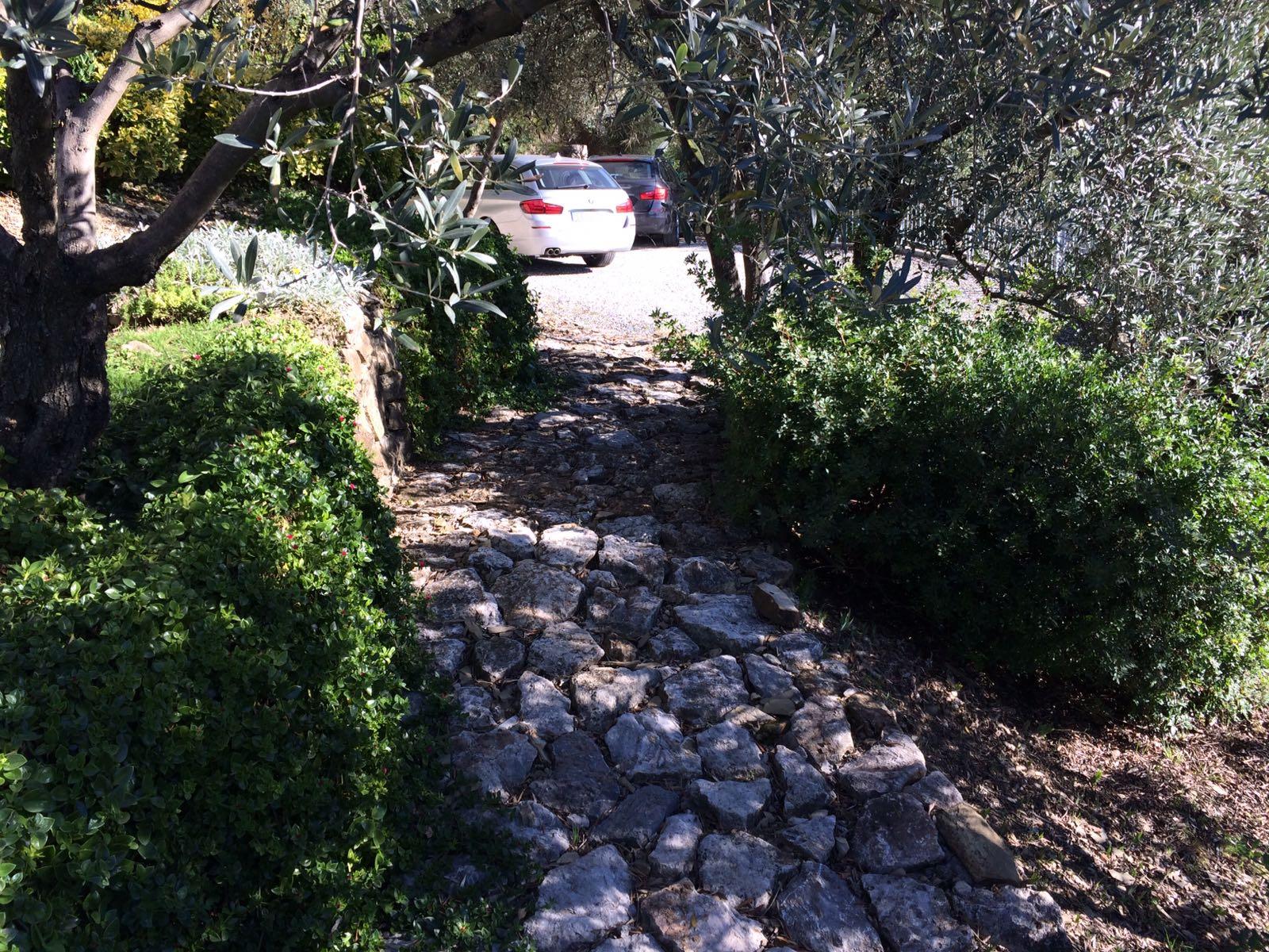 2. Percorso pedonale posto in pendenza rivestito di pietra naturale rustica: stato di fatto.