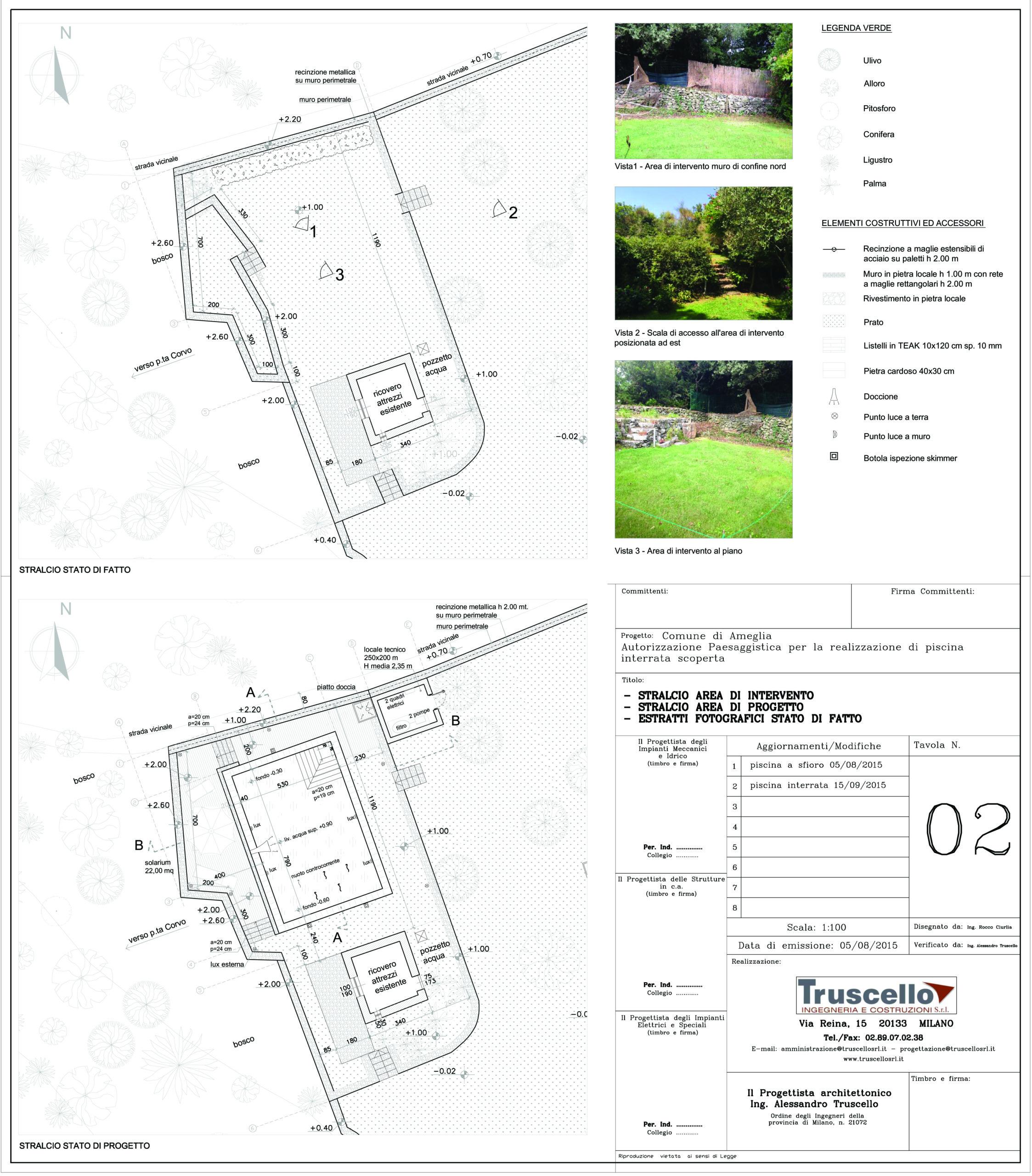 3. Planimetria con stato di fatto e di progetto di piscina interrata scoperta: stato di progetto.