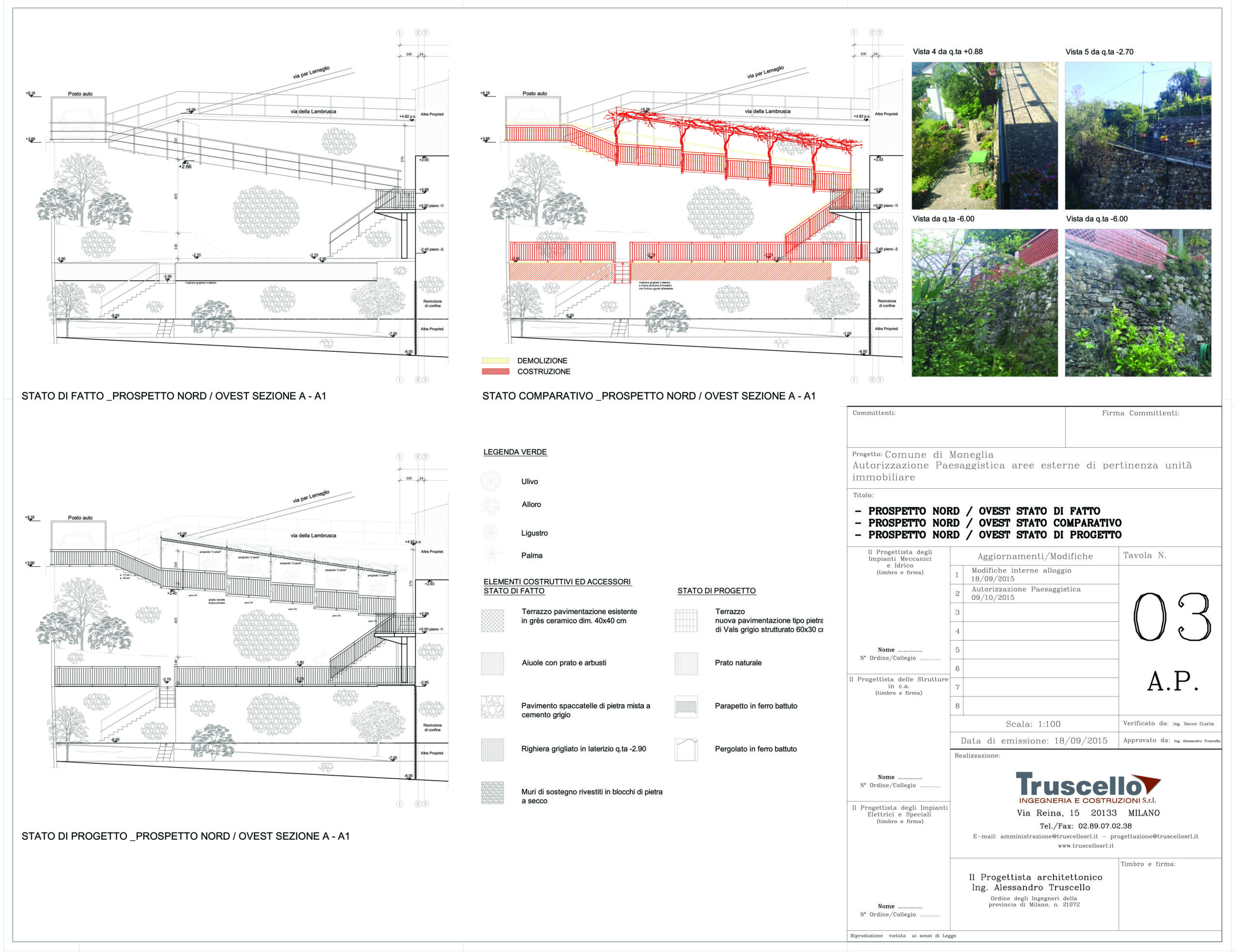 3. Prospetti stato di fatto, di progetto e raffronto di parapetti e pergolati in ferro battuto per aree esterne di pertinenza unità immobiliare: stato di progetto.