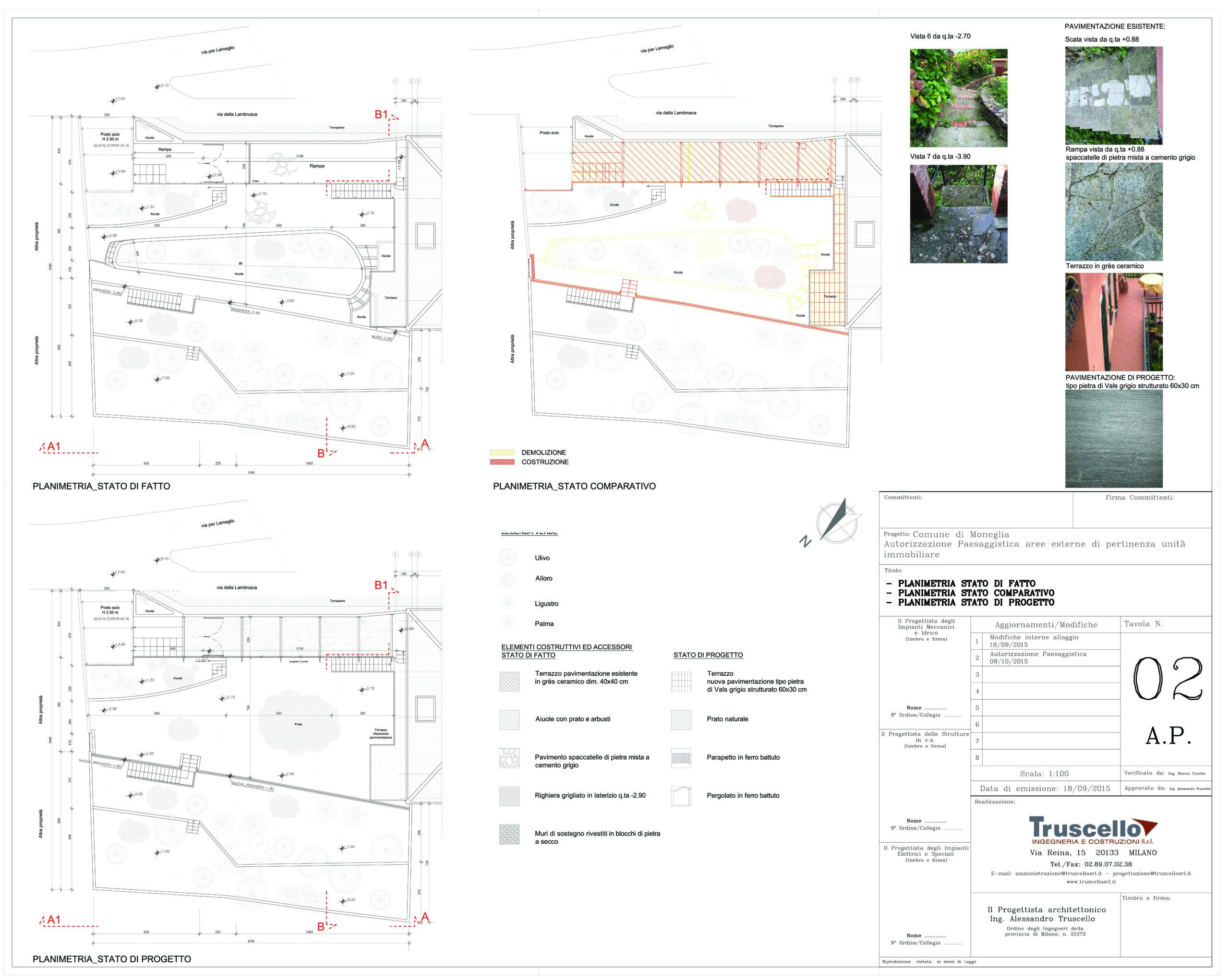 4. Planimetrie stato di fatto, di progetto e raffronto di pavimentazioni, pergolati e parapetti per aree esterne di pertinenza unità immobiliare: stato di progetto.