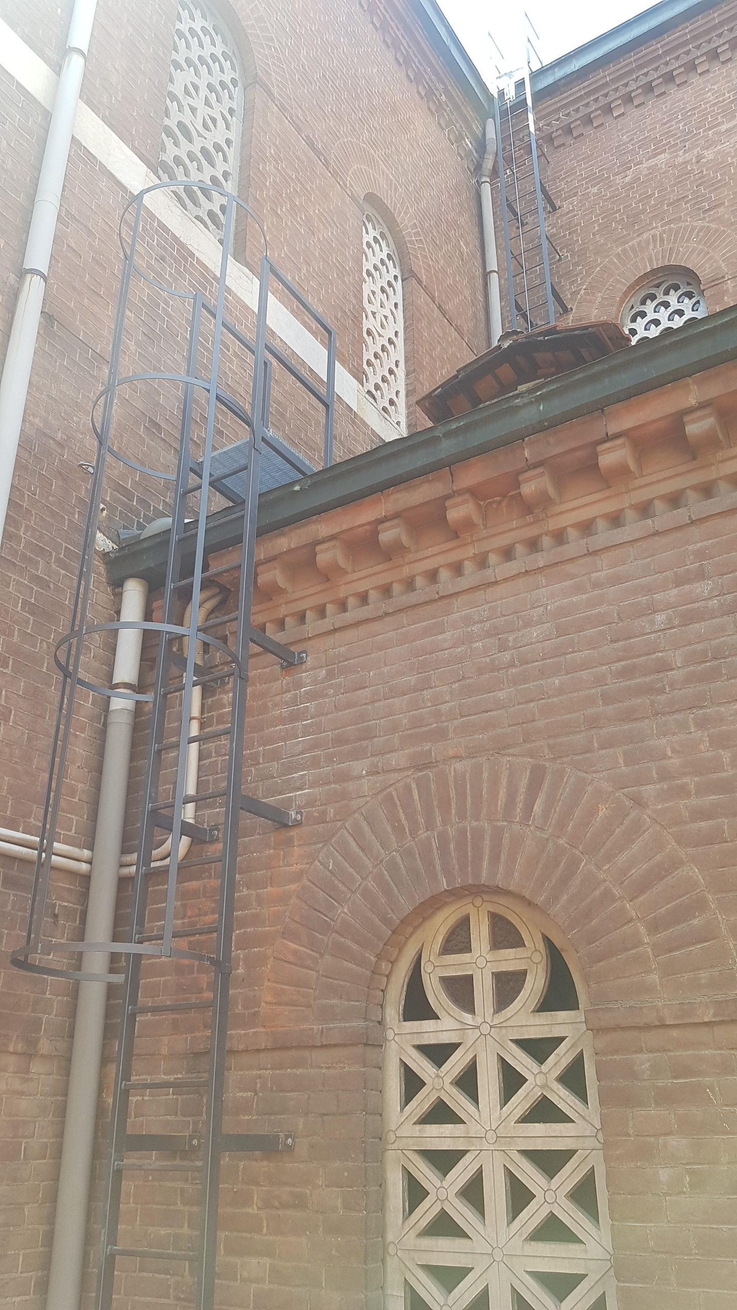 6. Installazione di scala alla marinara con gabbia di protezione di collegamento alla copertura: lavori ultimati.