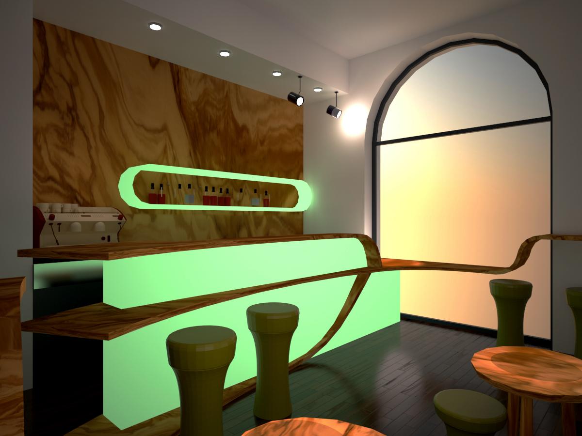 8. Render di progetto con vista lato bancone e longue bar: stato di progetto.
