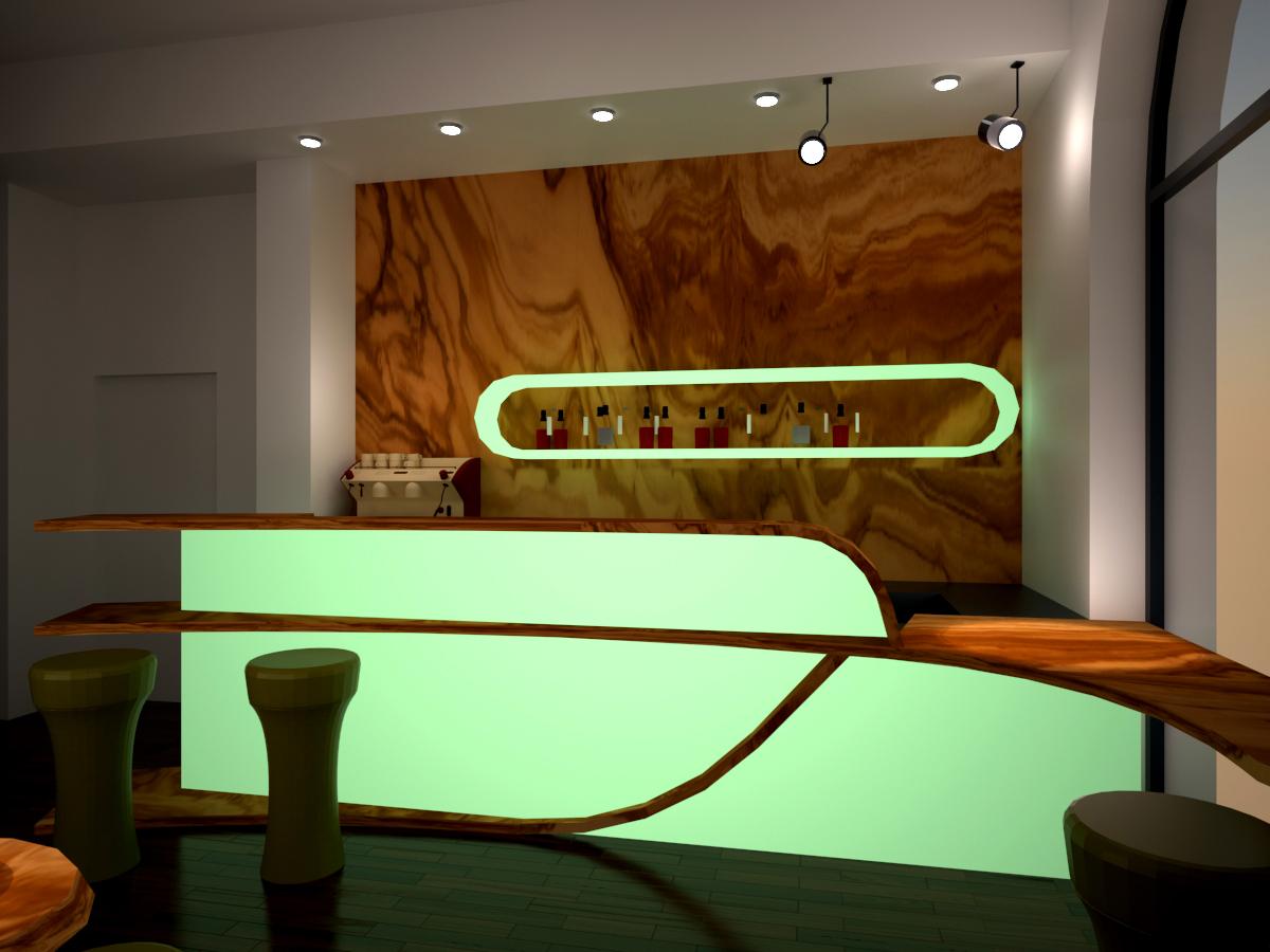 9. Render di progetto con vista frontale lato bancone e longue bar: stato di progetto.
