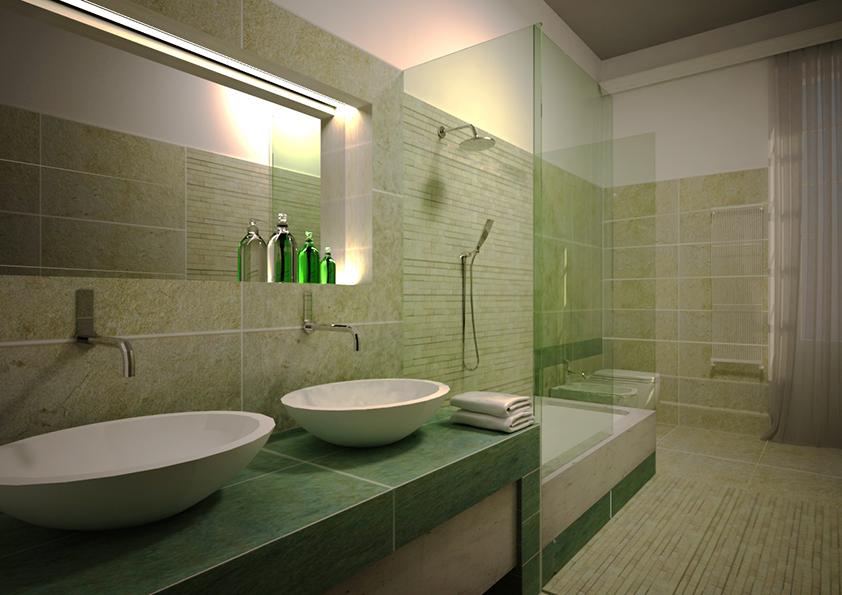 10. Render progettuale bagno 1 con finiture rivestimenti piastrelle verdi: stato di progetto.