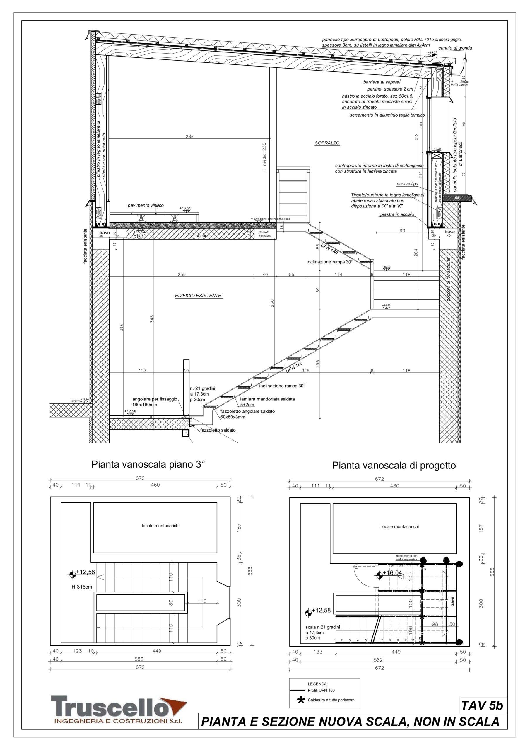 2. Elaborato grafico esecutivo di sezione tecnologica scala in ferro tra piano 3° e nuovo piano sopralzo: stato di progetto.