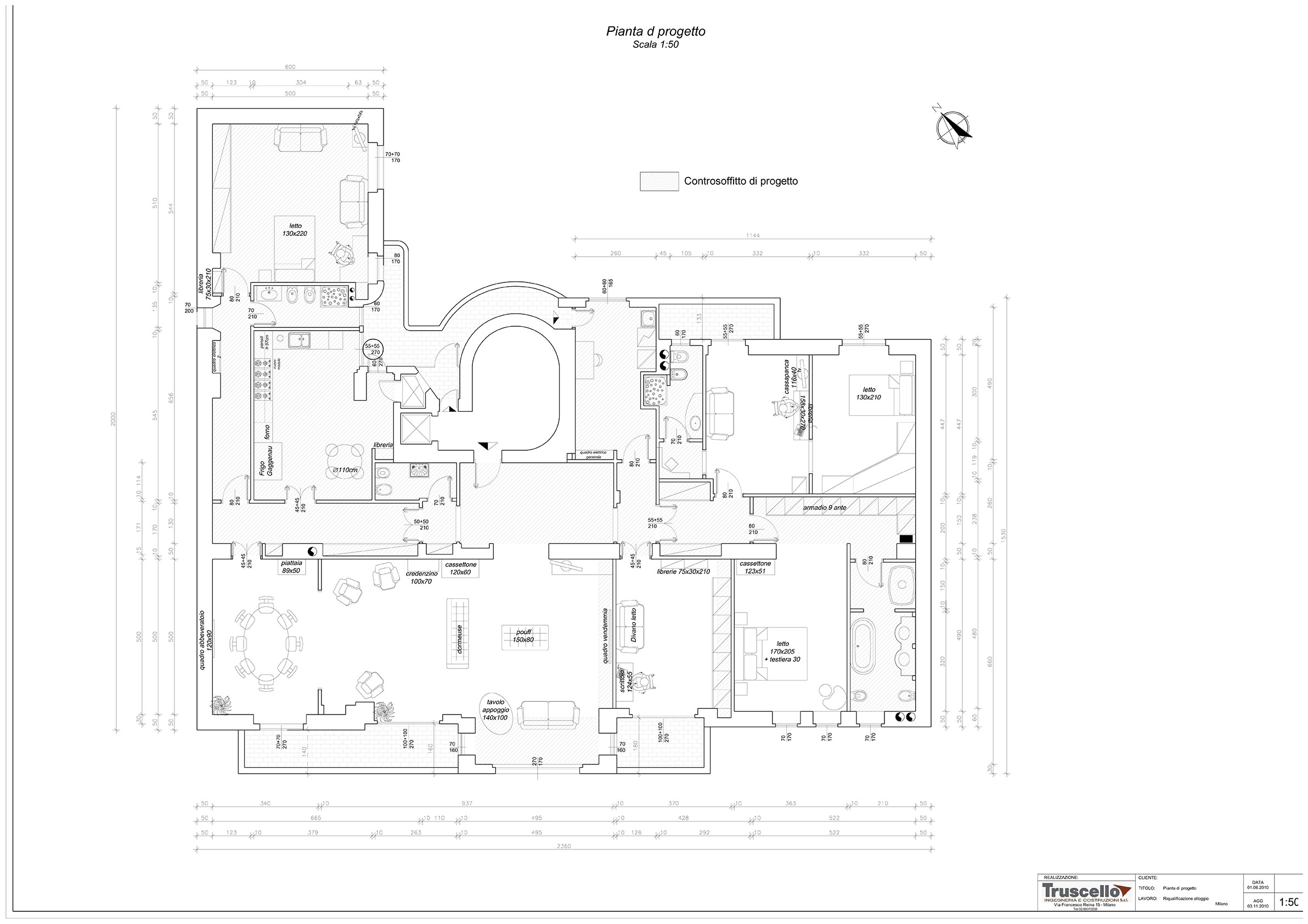 2. Elaborato grafico esecutivo con pianta di progetto per riqualificazione alloggio residenziale: stato di progetto.