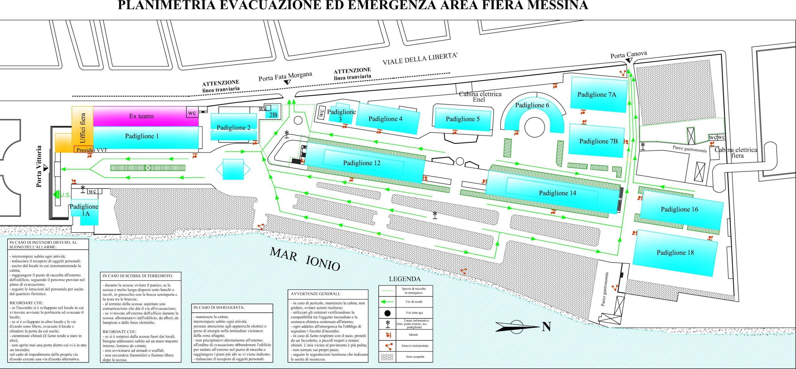 2. Elaborato grafico del piano di evacuazione ed emergenza area fiera Messina: stato di progetto.