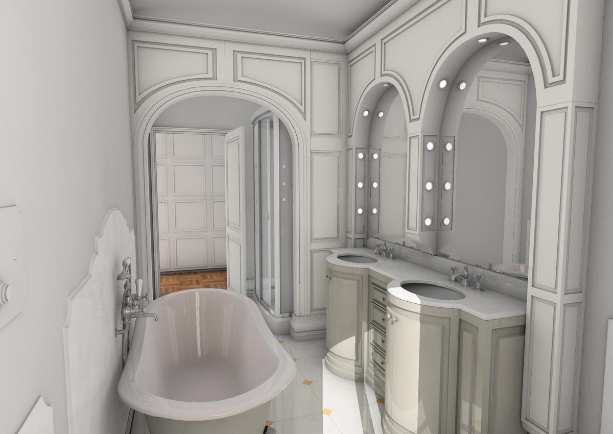 3. Studio progettuale della sala da bagno tramite render grafico tridimensionale: stato di progetto.