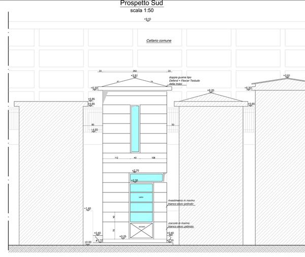 4. Elaborato grafico esecutivo prospetto Sud con copertura in doppia guaina tipo Defend + Flexter Testudo della Index, rivestimento facciate in marmo bianco sivec patinato, quota piano di gronda + 6.30metri: stato di progetto.