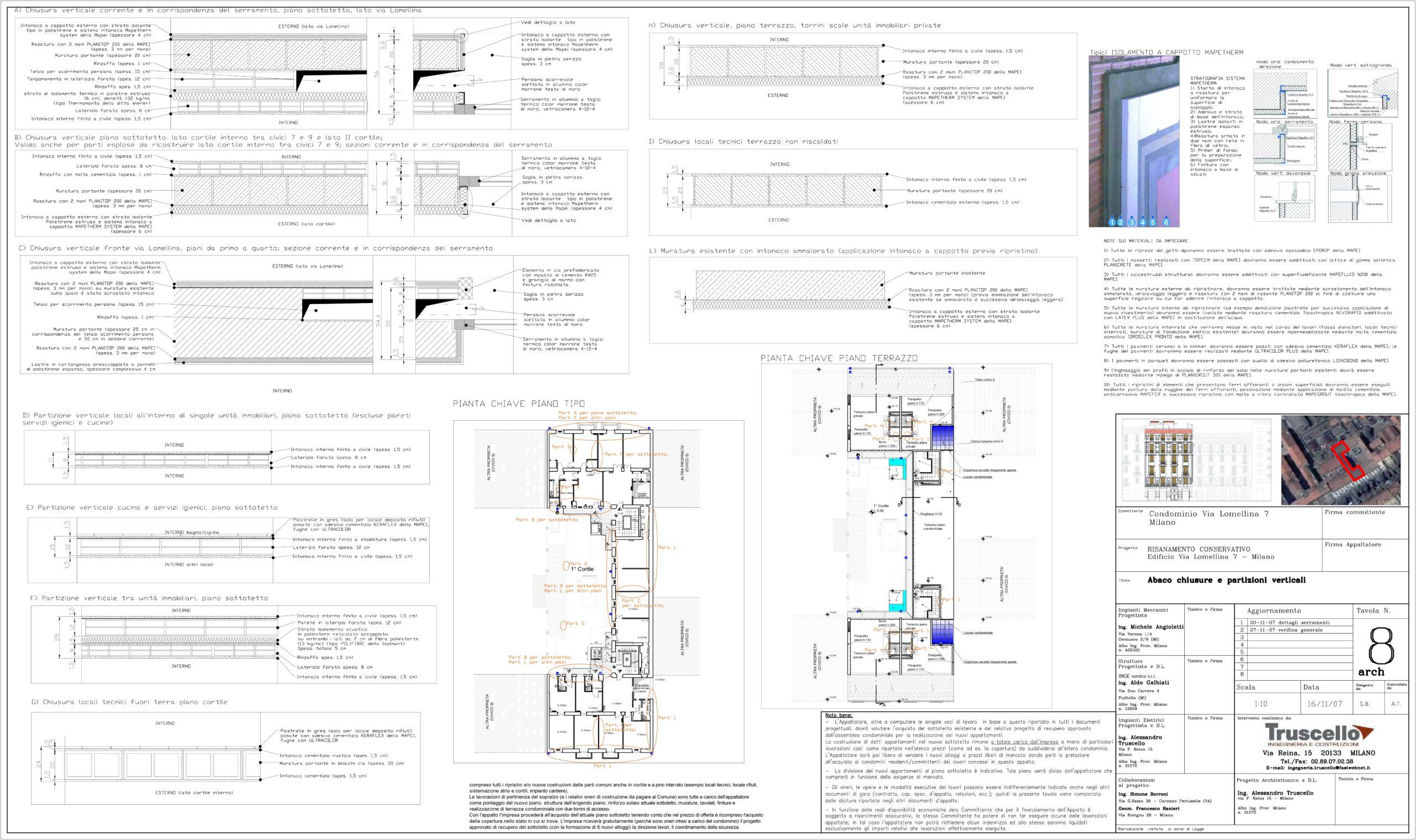 4. Elaborato grafico esecutivo con abachi chiusure verticali e partizioni verticali: stato di progetto.