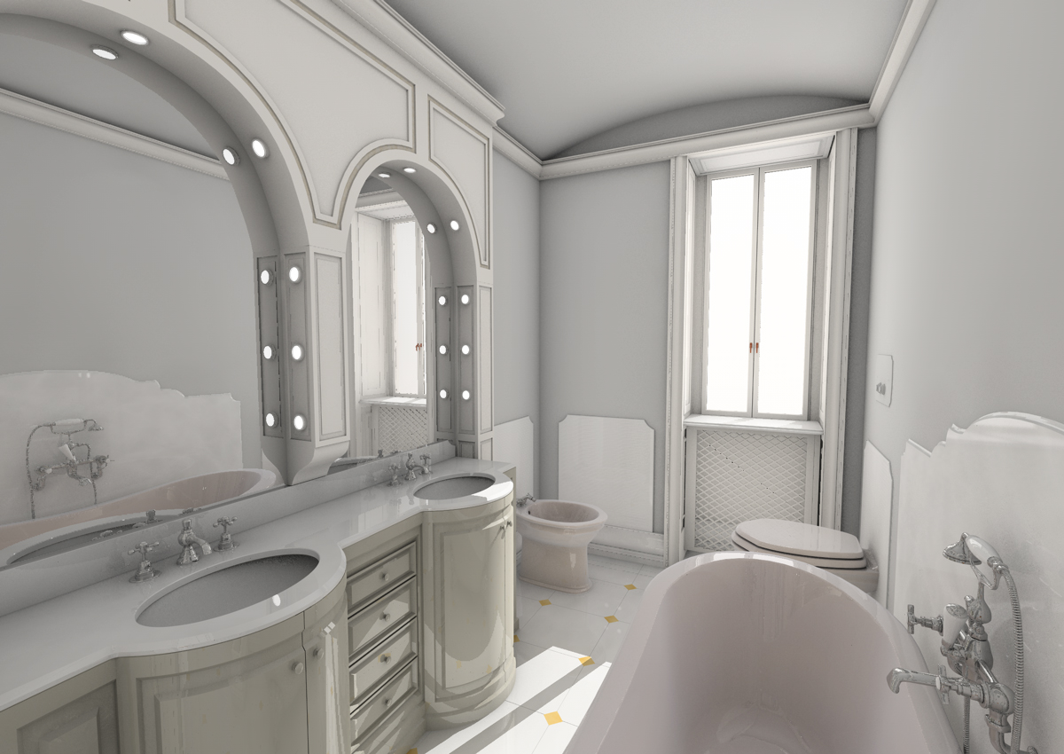 4. Studio progettuale della sala da bagno tramite render grafico tridimensionale: stato di progetto.