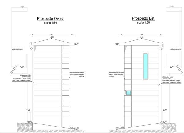 5. Elaborato grafico esecutivo prospetti Ovest ed Est Sud con copertura in doppia guaina tipo Defend + Flexter Testudo della Index, rivestimento facciate in marmo bianco sivec patinato, quota piano di gronda + 6.30metri: stato di progetto.