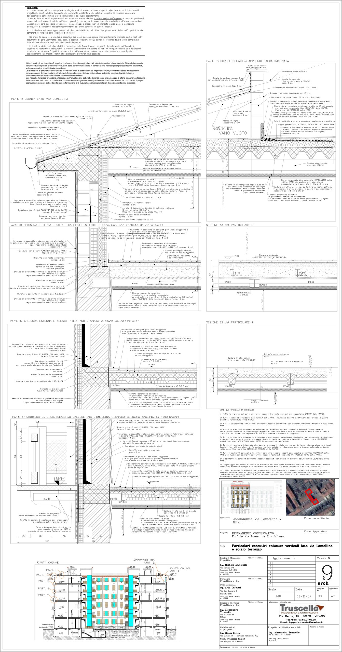 5. Elaborato grafico esecutivo con sezione tecnologica completa di particolari costruttivi ai nodi tecnologici, chiusura verticale – solaio interpiano in latero cemento, chiusura verticale – copertura: stato di progetto.