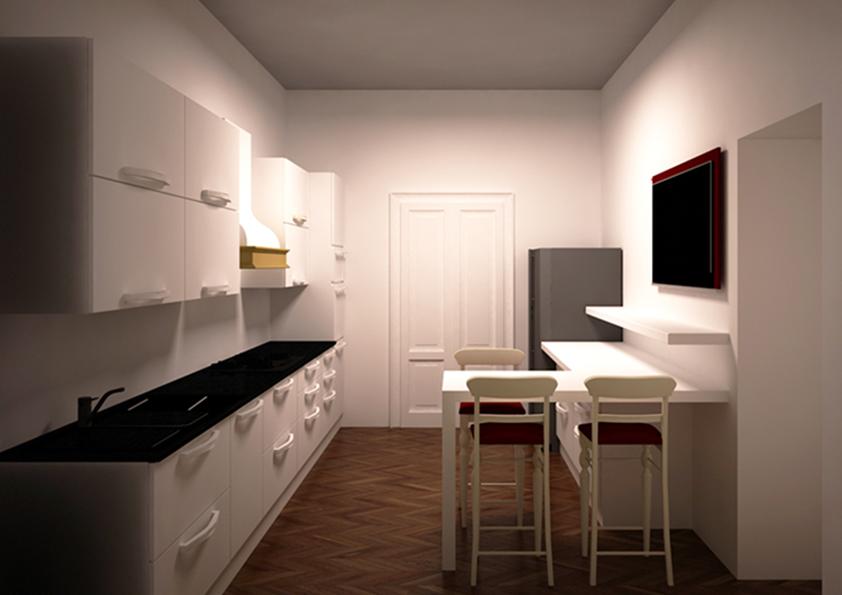 5. Render progettuale zona cucina arredata: stato di progetto.