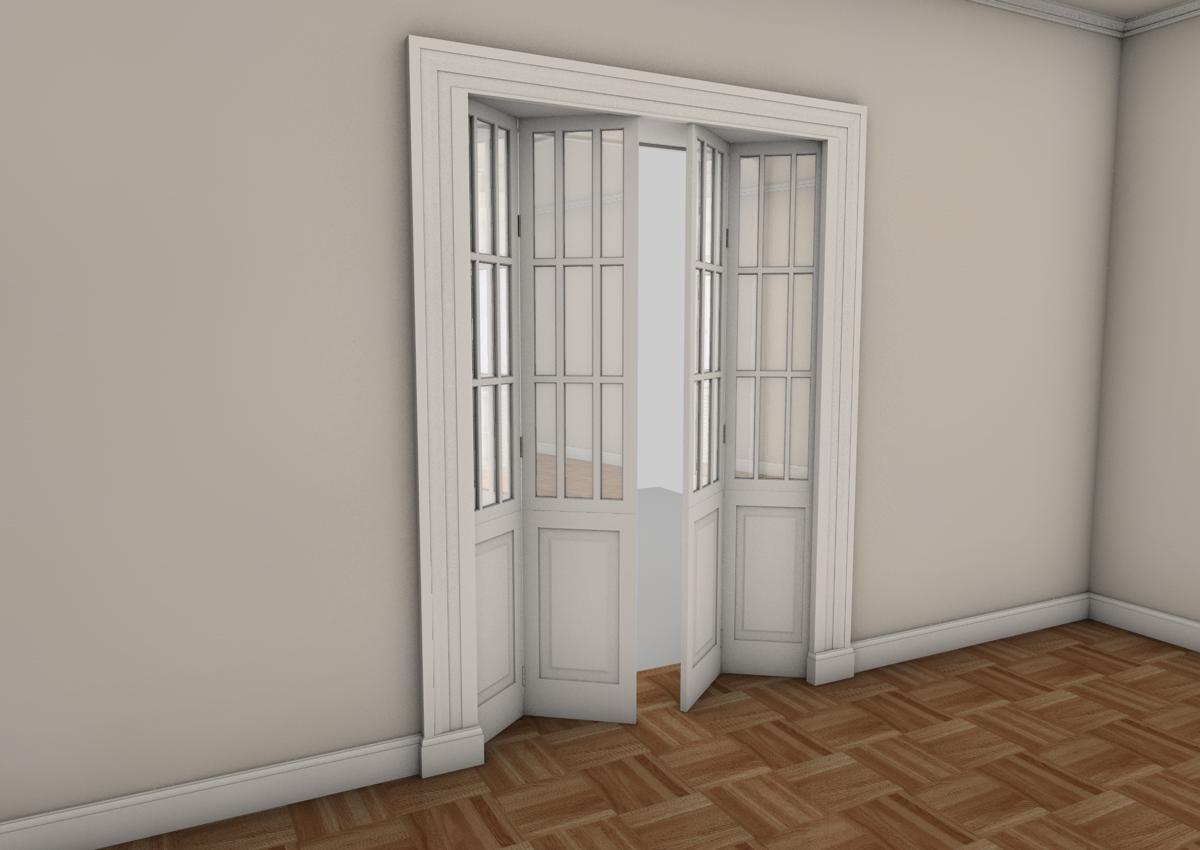 6. Studio progettuale della zona giorno tramite render grafico tridimensionale con porte a doppia anta soffietto: stato di progetto.