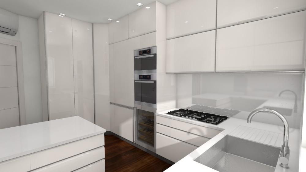6. Studio progettuale della cucina tramite render grafico tridimensionale: stato di progetto.