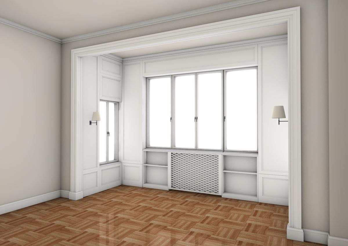 7. Studio progettuale della zona giorno e bow windows tramite render grafico tridimensionale: stato di progetto.