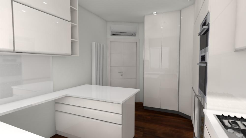 7. Studio progettuale della cucina tramite render grafico tridimensionale: stato di progetto.