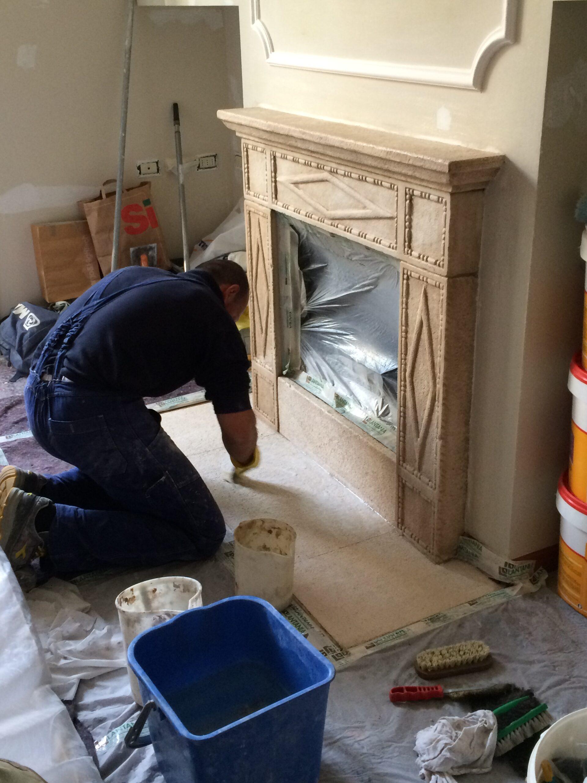 7. Trattamento superficiale di piastrelle ceramiche: lavori in corso.