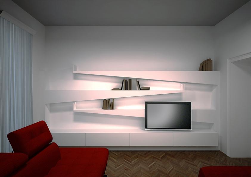 7. Render progettuale locale salotto con arredo su misura: stato di progetto.