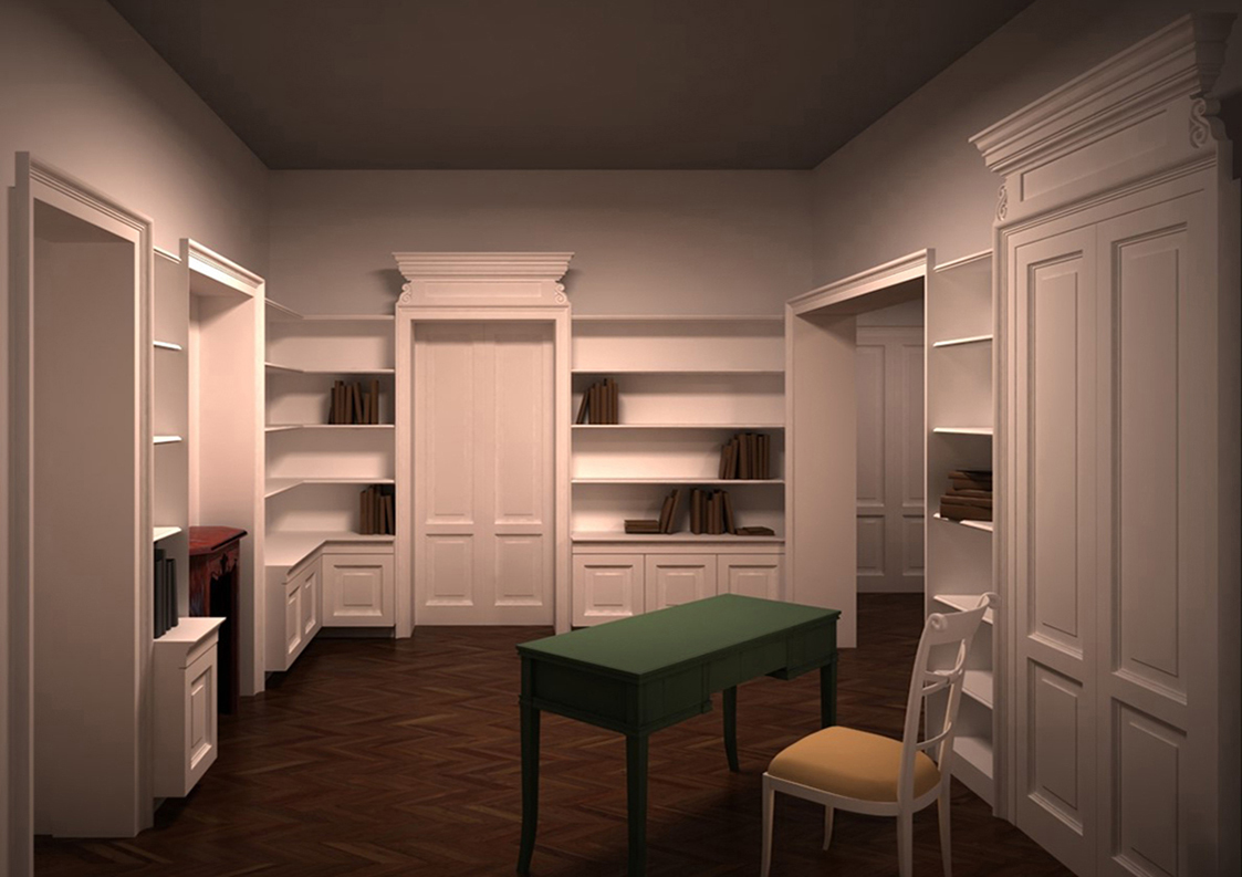 8. Render progettuale locale studio 2 con arredo su misura: stato di progetto.