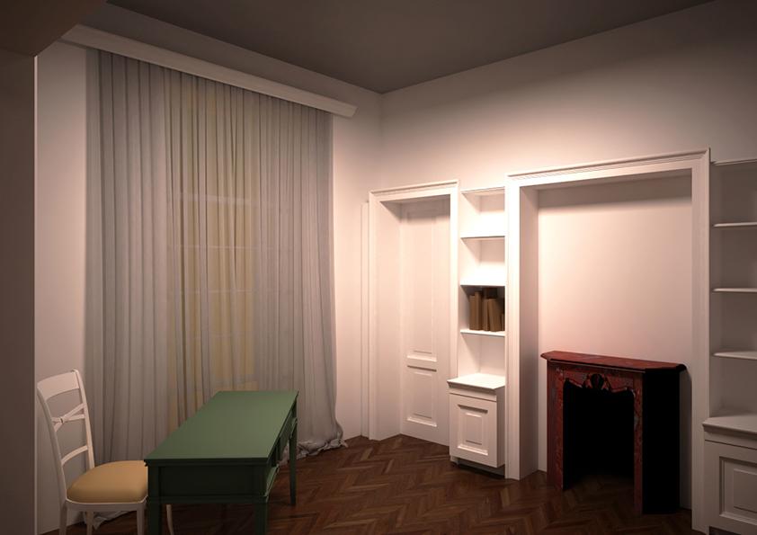 9. Render progettuale locale studio 2 con arredo su misura, vista lato porta finestra: stato di progetto.